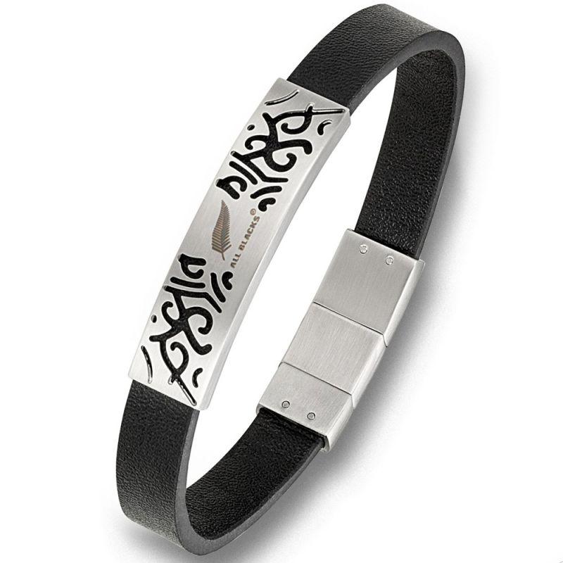 Bracelet homme All Blacks cuir noir plaque acier tribal