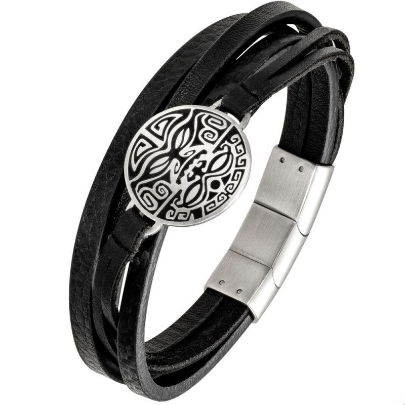Bracelet homme All Blacks cuir noir multi-lanières