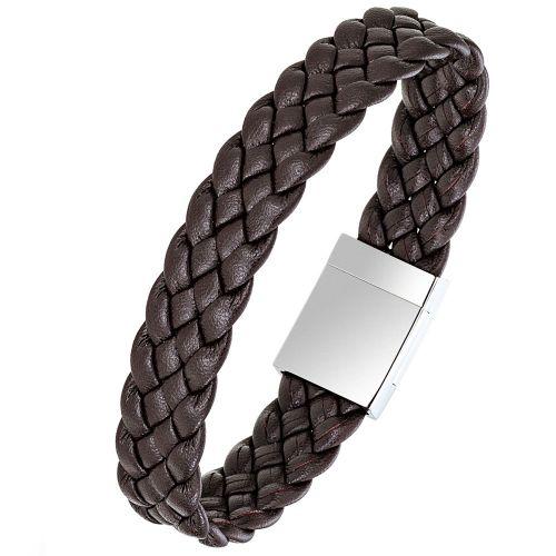 Bracelet homme All Blacks cuir marron tressé