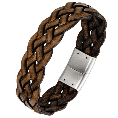 Bracelet homme All Blacks cuir marron tressé