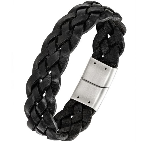 Bracelet homme All Blacks cuir noir tressé
