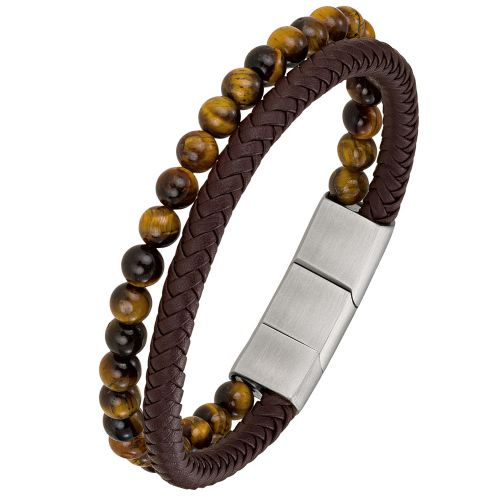 Bracelet homme All Blacks cuir marron et oeil de tigre