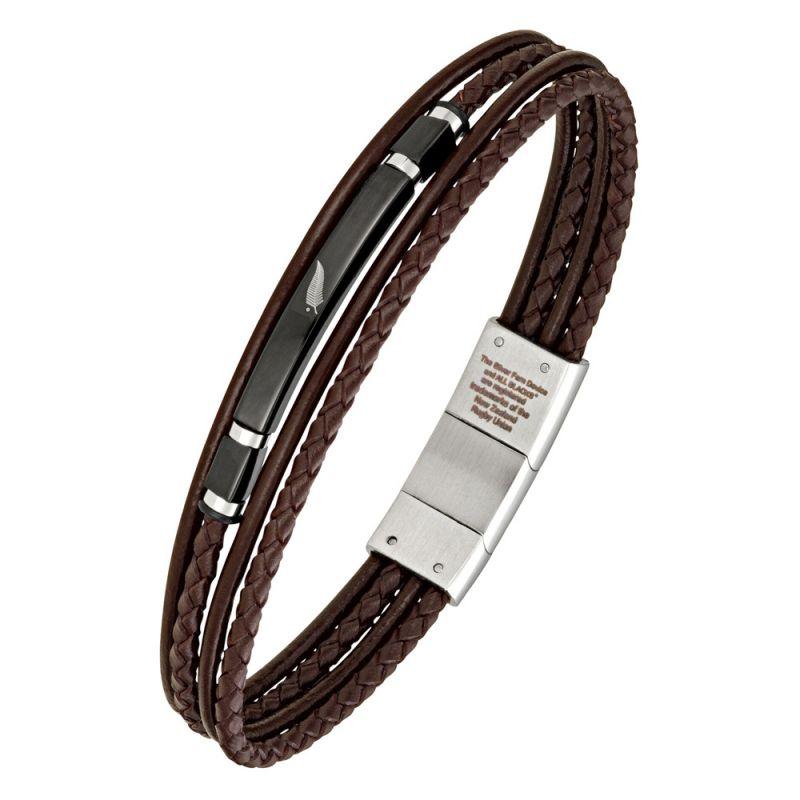 Bracelet homme All Blacks cuir marron tressé et acier