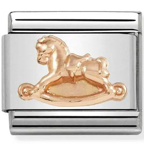 Maillon Nomination classic relief cheval à bascule Or rose