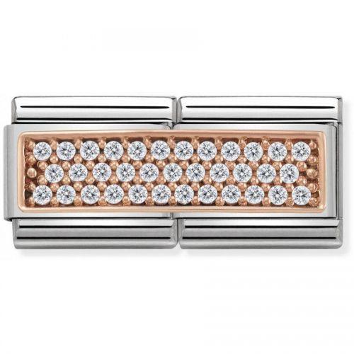 Maillon Nomination classic double plaque pavé oxydes blancs en Or rose
