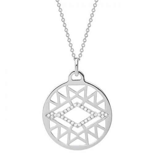 Collier femme Les Georgettes précieuses finition Argent motif sioux diamètre 25 mm