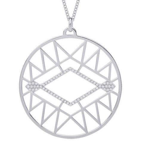Collier femme Les Georgettes précieuses finition Argent motif sioux diamètre 45 mm
