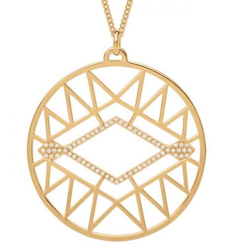 Collier femme Les Georgettes précieuses finition Or jaune motif sioux diamètre 45 mm