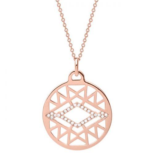 Collier femme Les Georgettes précieuses finition Or rose motif sioux diamètre 25 mm