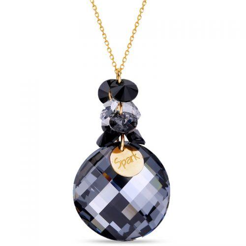 Collier Spark Argent et cristaux rond noir