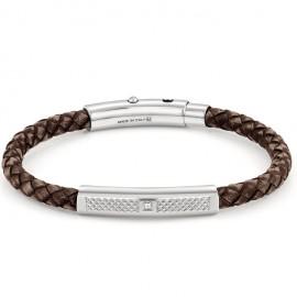 Bracelet Nomination acier et cuir marron