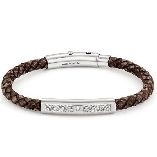 Bracelet Nomination acier, cuir marron et oxyde de zirconium
