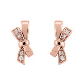 Boucles d'oreilles Plaqué Or rose et oxyde de zirconium motif noeud