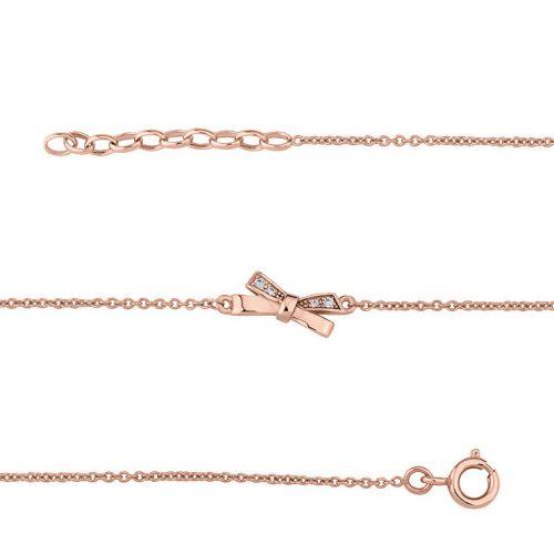 Bracelet plaqué Or rose et oxydes de zirconium motif noeud