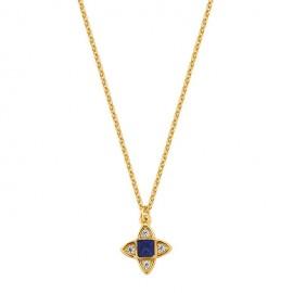 Collier plaqué Or, oxydes de zirconium et pierre bleue