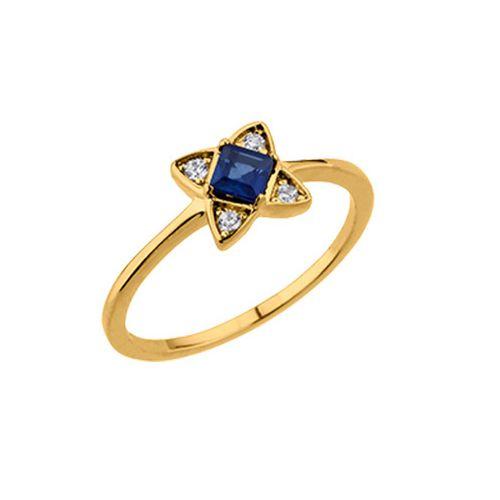 Bague plaqué Or, oxydes de zirconium et pierre bleue