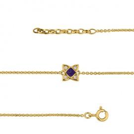 Bracelet Plaqué Or, oxydes de zirconium et pierre bleue