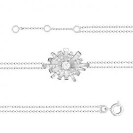 Bracelet Argent et oxydes de zirconium motif flocon