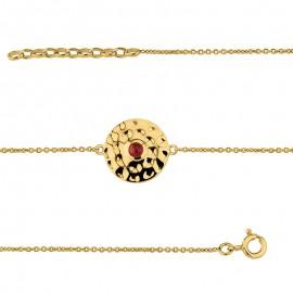 Bracelet Plaqué Or effet martelé et pierre rouge