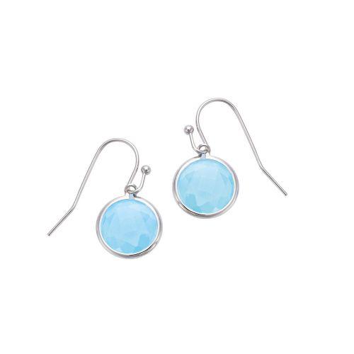 Boucles d'oreilles Argent et cristal bleu