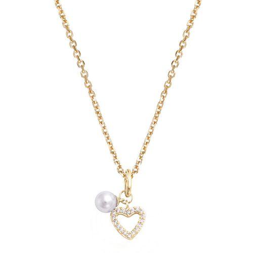 Collier femme Plaqué Or, oxydes de zirconium et perle