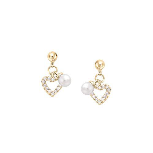 Boucles d'oreilles Plaqué Or, oxydes de zirconium et perle