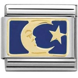 Maillon Nomination classic lune et étoile bleue en or