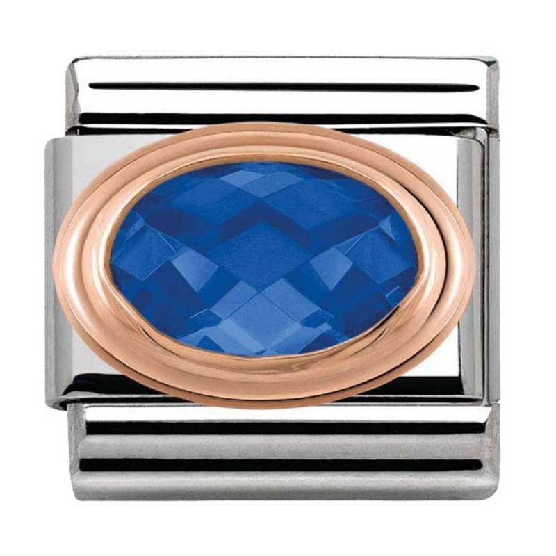 Maillon Nomination classic Or rose pierre facetée bleue