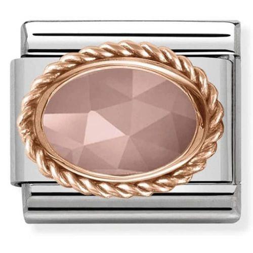 Maillon Nomination classic Or rose pierre facetée rose