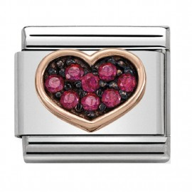 Maillon Nomination classic coeur Or rose pierres rouges