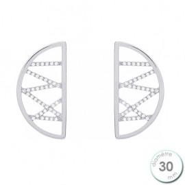Boucles d'oreilles Les Georgettes précieuses motif liens finition argent diamètre 30 mm