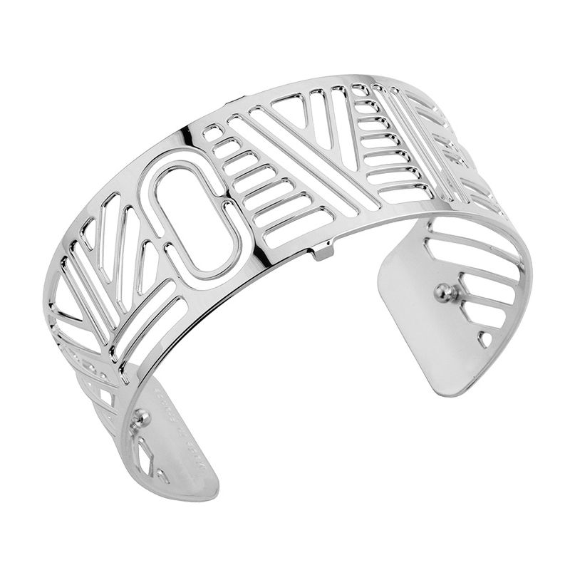 Bracelet manchette Les Georgettes motif love finition Argent medium