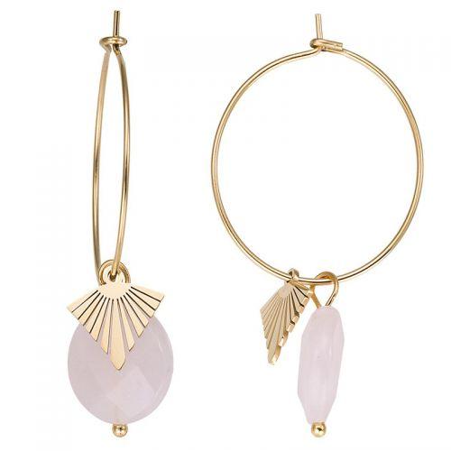 Boucles d'oreilles doré jaune et pierres roses
