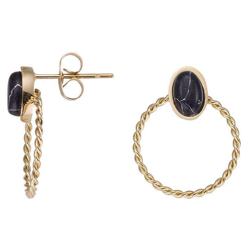 Boucles d'oreilles doré jaune et pierres noires