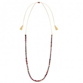 Collier sautoir femme doré jaune et perles rouges