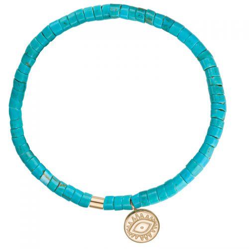 Bracelet perles turquoises et pampille doré jaune