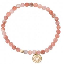Bracelet perles roses et pampille doré jaune