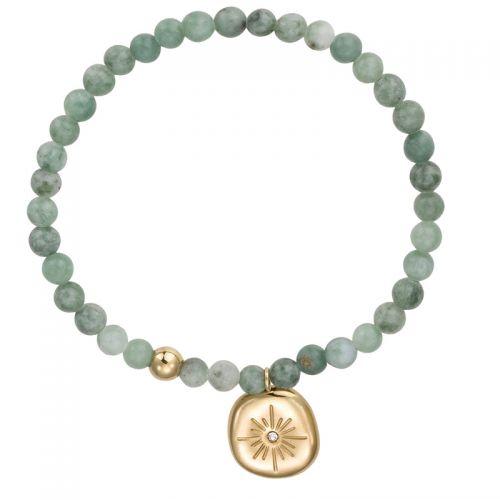 Bracelet perles vertes et pampille doré jaune