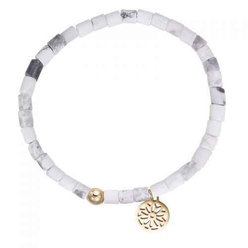 Bracelet perles blanches et pampille doré jaune