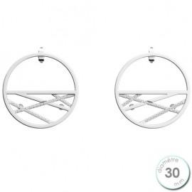 Boucles d'oreilles Les Georgettes précieuses petites créoles motif liens finition argent