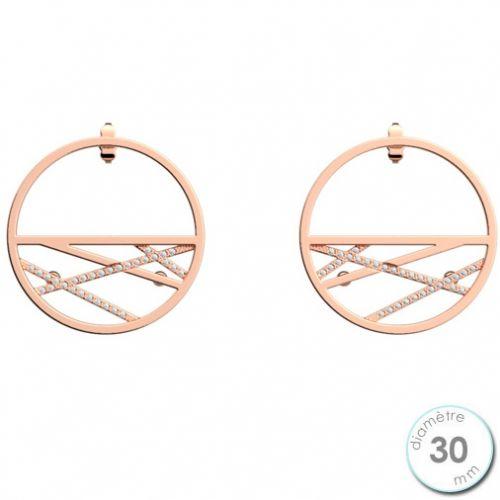 Boucles d'oreilles Les Georgettes précieuses petites créoles motif liens finition Or rose