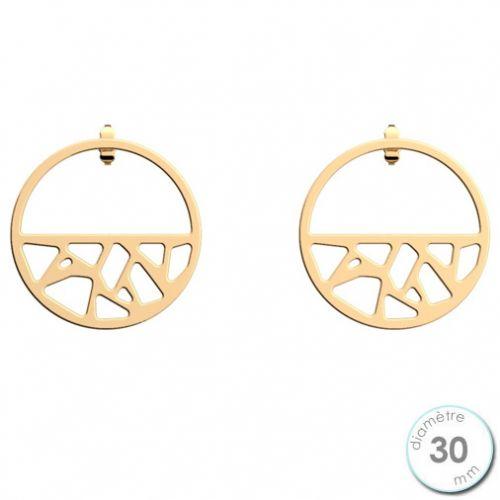 Boucles d'oreilles Les Georgettes petites créoles motif girafe finition Or jaune