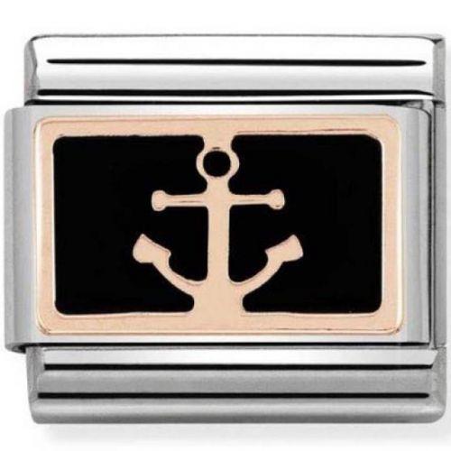Maillon Nomination classic ancre de bateau en Or rose