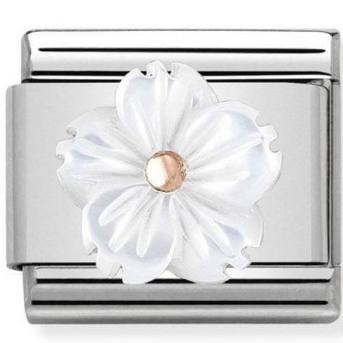 Maillon Nomination classic fleur en résine blanche en Or rose