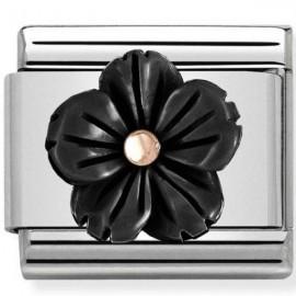 Maillon Nomination classic fleur en résine noire en Or rose