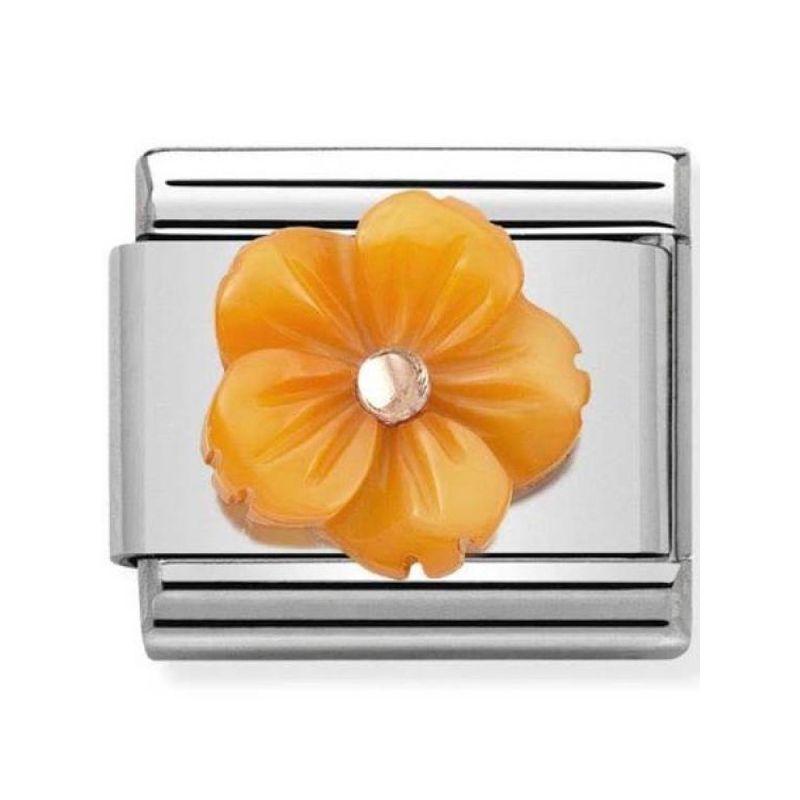 Maillon Nomination classic fleur en résine orange en Or rose
