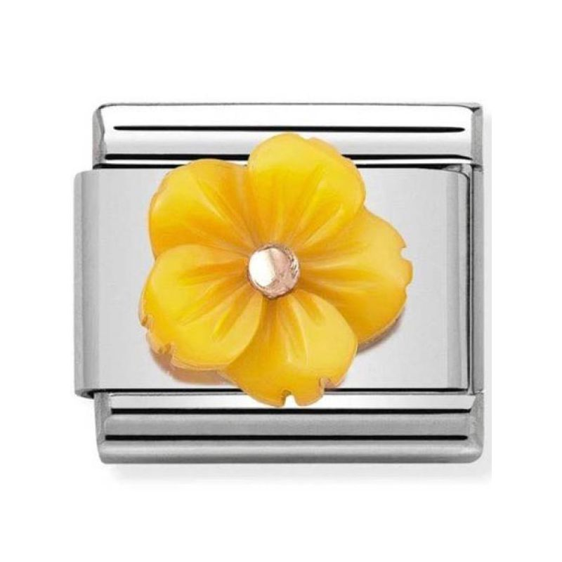 Maillon Nomination classic fleur en résine jaune en Or rose