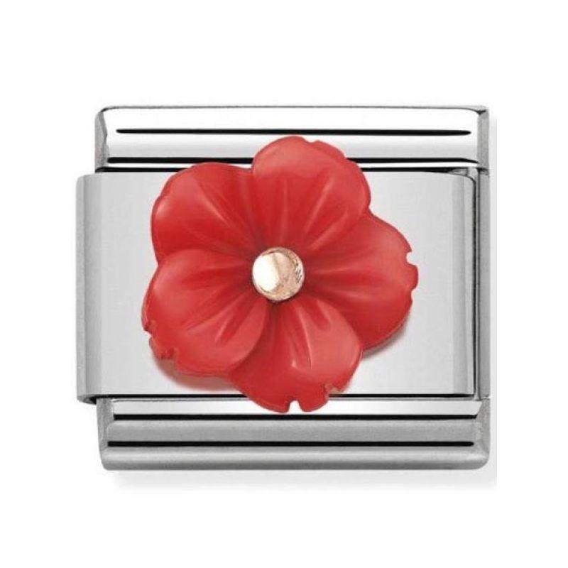 Maillon Nomination classic fleur en résine rouge en Or rose