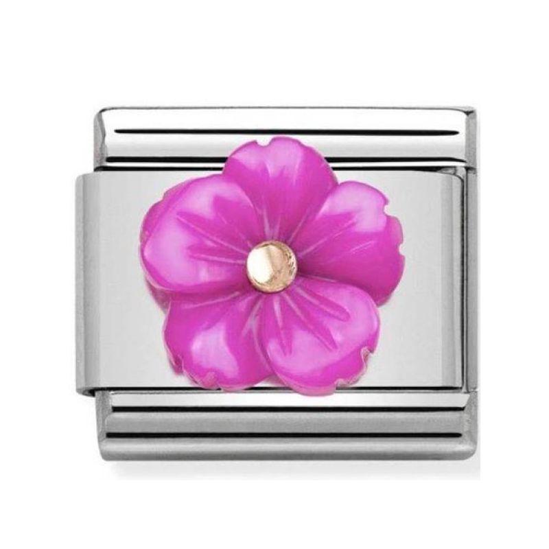 Maillon Nomination classic fleur en fuschia jaune en Or rose