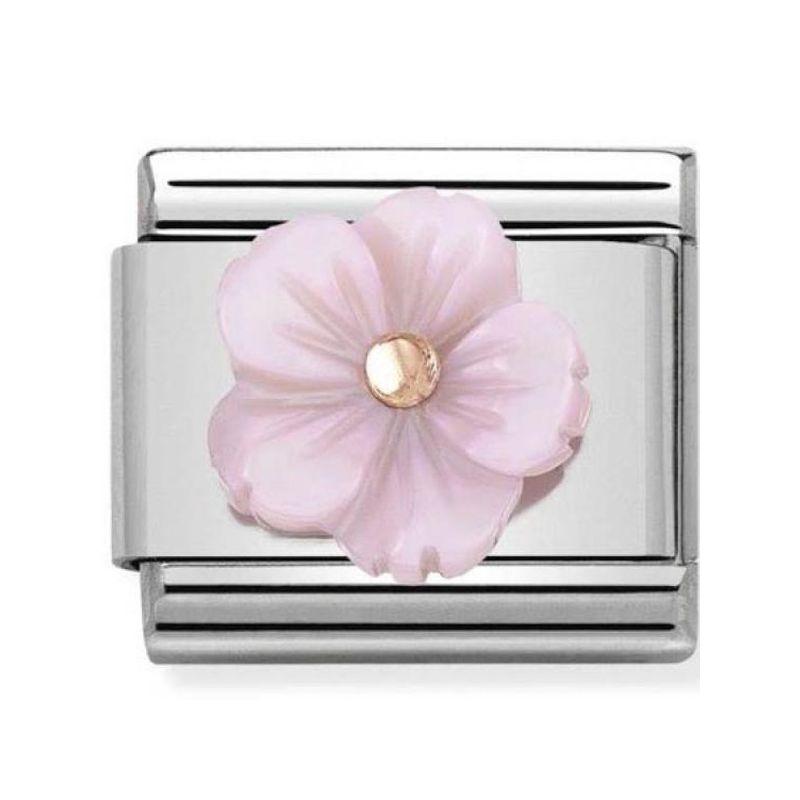 Maillon Nomination classic fleur en rose en Or rose